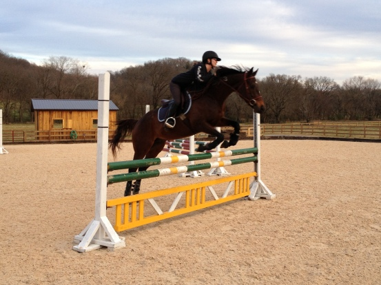 Our 3 foot and 3 inch high warm up jump! (Eeeeaaaasy!)