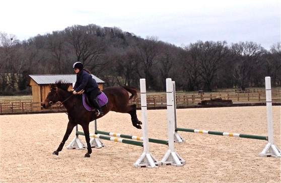 That's me landing off the bounce, coming into the one-stride line.