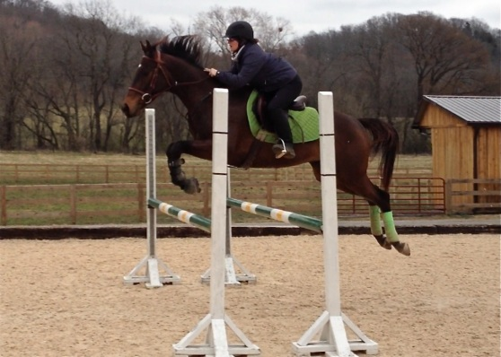 Weee! Jumping an oxer with Mommy!