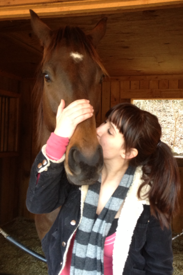 My newly betrothed and I, sealing our love with a kiss.