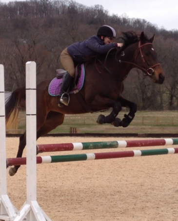 Jumping the oxer!