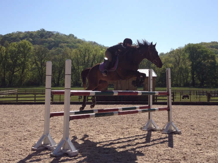 Jumping the four-foot-high oxer!