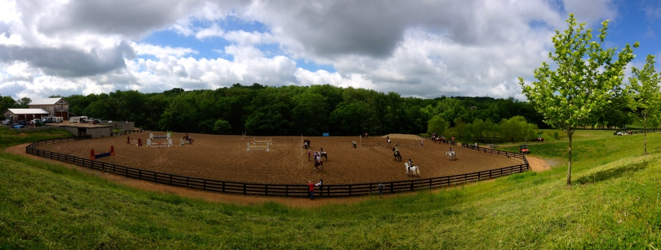 A panoramic view of the jumping arena, from up on the hill!