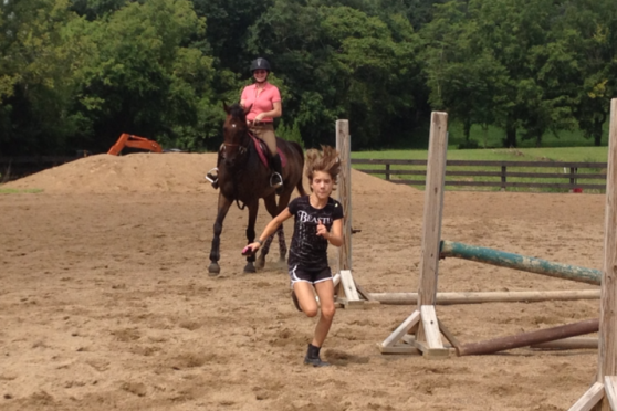 Trotting after Lily!